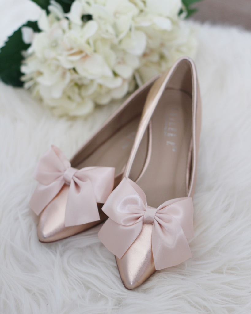 ROSE GOLD METALLIC Pointy Toe Flats with Satin Bow