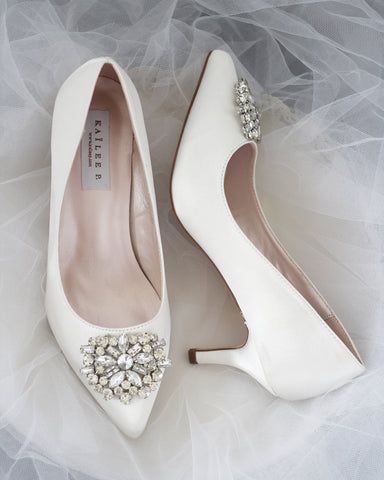 white wedding shoes kitten heel