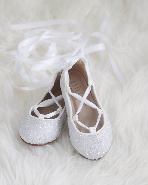 WHITE ROCK GLITTER ballerina flats with satin ribbon lace up