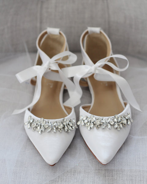 WHITE SATIN Pointy Toe Flats with Rhinestones Embellishments