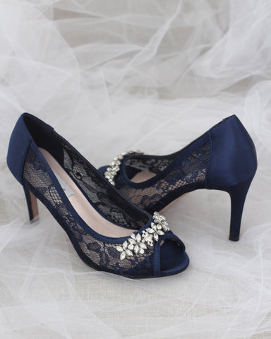 NAVY New Lace Peep Toe Heel with Rhinestone Embellishment