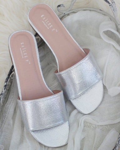 Women SILVER METALLIC Slip on Sandals