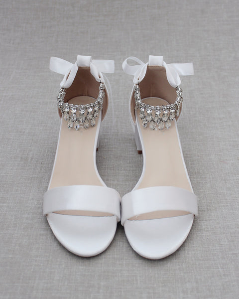 WHITE SATIN Block Heel Sandal with Embellished DANGLED RHINESTONES Ankle Strap