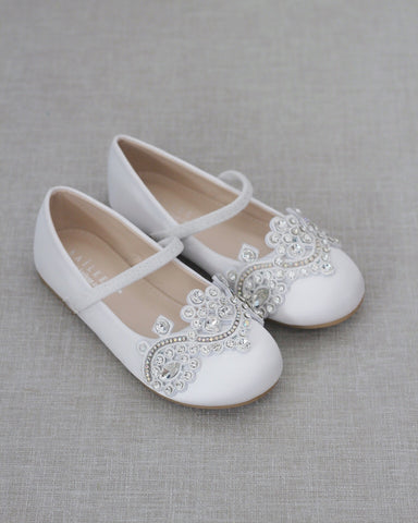 WHITE Satin Mary Jane Flats with SMALL RHINESTONES APPLIQUE