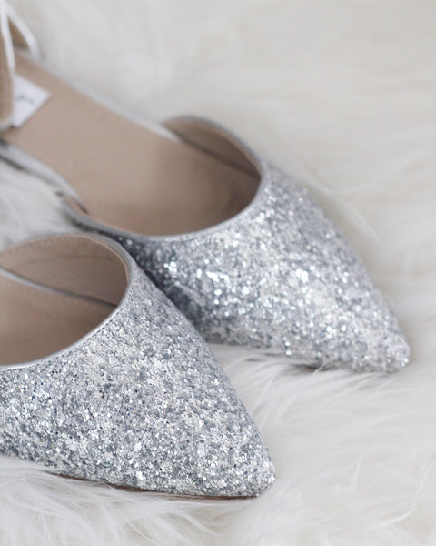 silver glitter shoes pointed toe