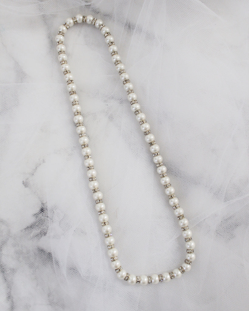 Pearls Necklace with Rhinestones