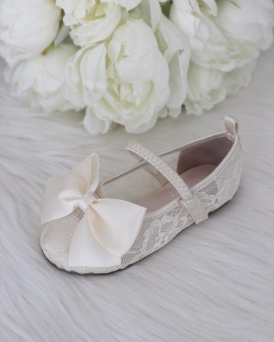 Girls Shoes - IVORY New Lace Flats With Satin Bow ,Kids Shoes- Kailee P