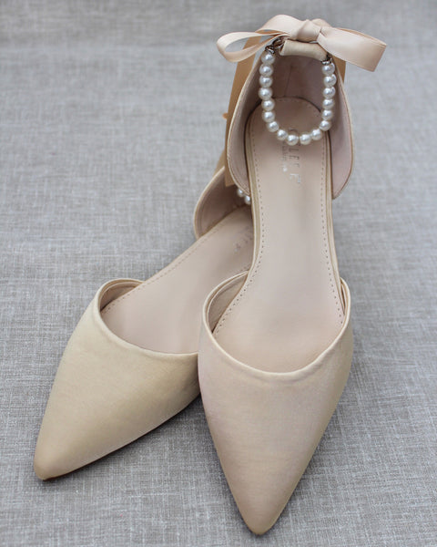 CHAMPAGNE Satin Pointy Toe Flats with Satin Ankle Tie or Ballerina Lace Up