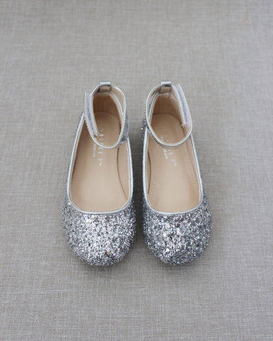SILVER Rock Glitter Ballet Flats With Velcro Ankle Strap