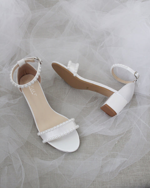 White Satin Block Heel Sandals with PEARLS