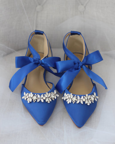 Royal Blue Satin Pointy Toe Flats with Rhinestones Embellishment
