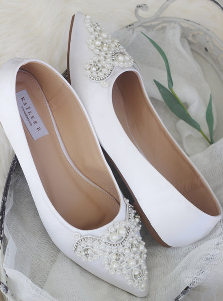 WHITE Satin Pointy Toe Flats with Oversized Pearls Applique