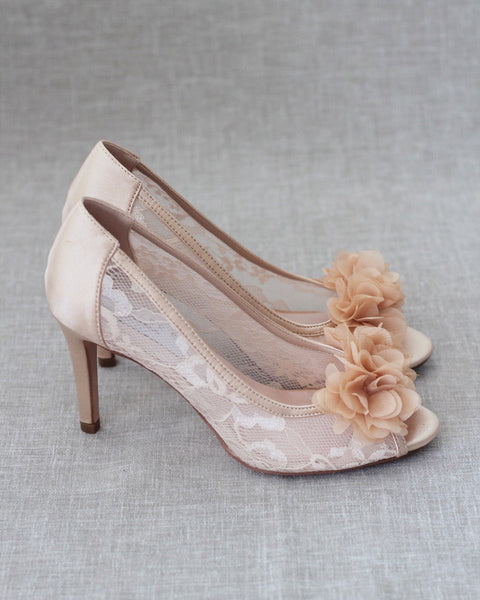 CHAMPAGNE Satin Peep Toe Heel with Chiffon Flowers