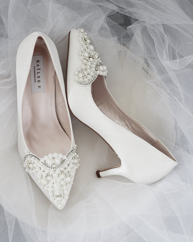 low heels pearl wedding shoes