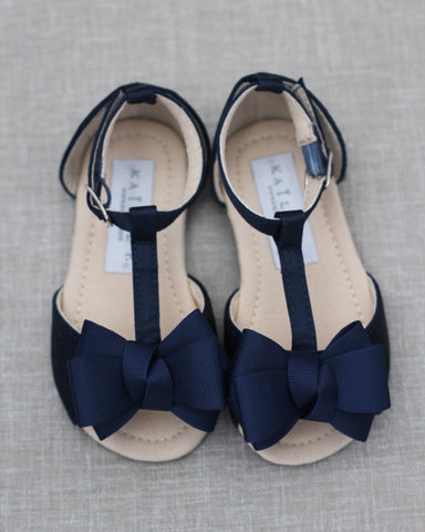 Navy Satin Sandals with GROSGRAIN Bow