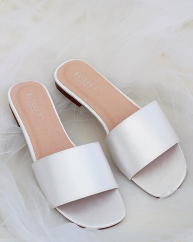 Women WHITE SATIN Slip on Sandals