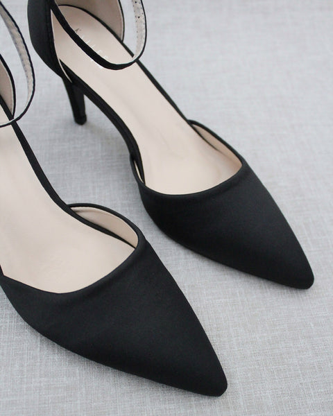 BLACK Satin Pointy Toe HEELS with Ankle Strap