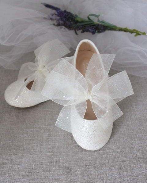 OFF WHITE Rock Glitter Maryjane Flats With Chiffon Bow