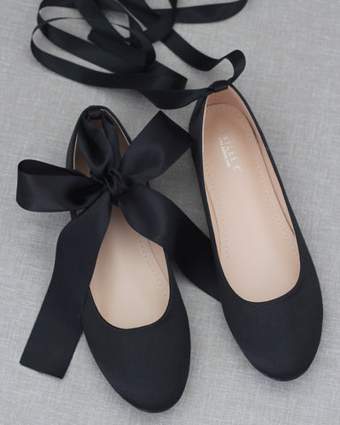 BLACK Satin Round Toe Flats with Satin Ankle Tie or Ballerina Lace Up