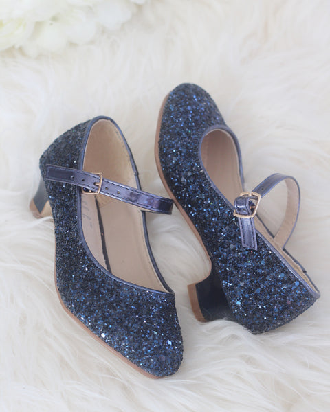 Girls Glitter Heels - Allover NAVY Glitter Maryjane Heels ,Kids Shoes- Kailee P