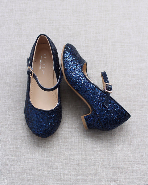 MIDNIGHT BLUE Glitter Mary Jane with Glitter Heels