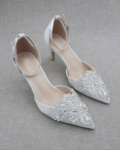 WHITE Satin Pointy Toe HEELS with Oversized Rhinestones Applique