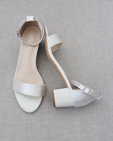 Ivory Satin Block Heel Sandals with MINI RHINESTONES Embellished Ankle Strap