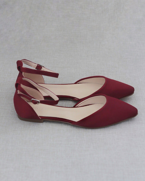 BURGUNDY Satin Pointy Toe Flats with Ankle Strap