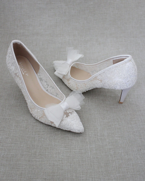 White Crochet Lace Pointy toe PUMPS with Mesh Grosgrain Bow