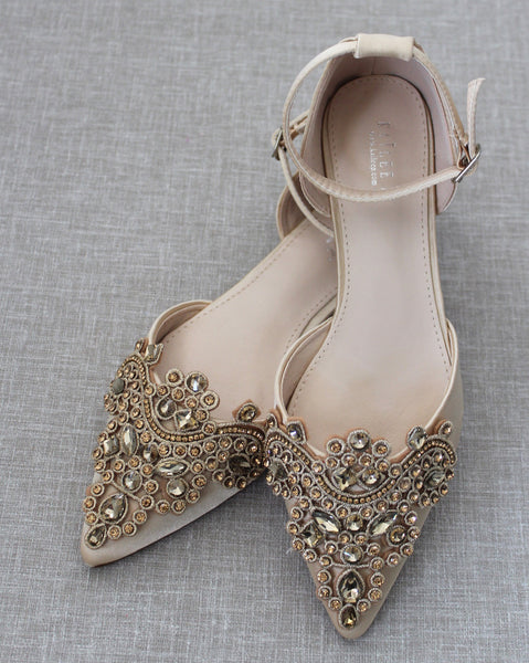 Champagne Satin Pointy Toe Flats with OVERSIZED RHINESTONES APPLIQUE Embellishments