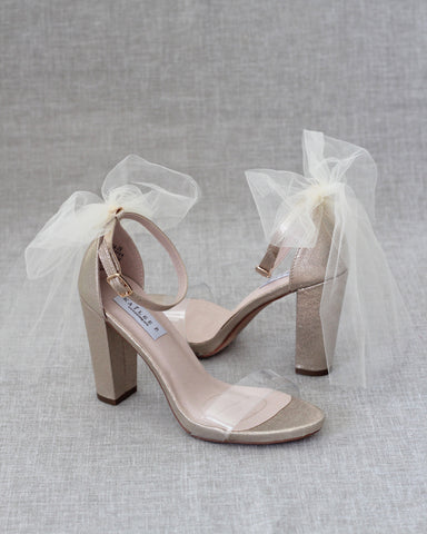 Lucite GOLD Shimmer Block Heel Sandals with BACK TULLE BOW