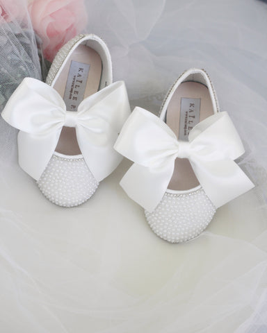 WHITE Mini Pearls Maryjane Flats With Rhinestones with WHITE SATIN BOW