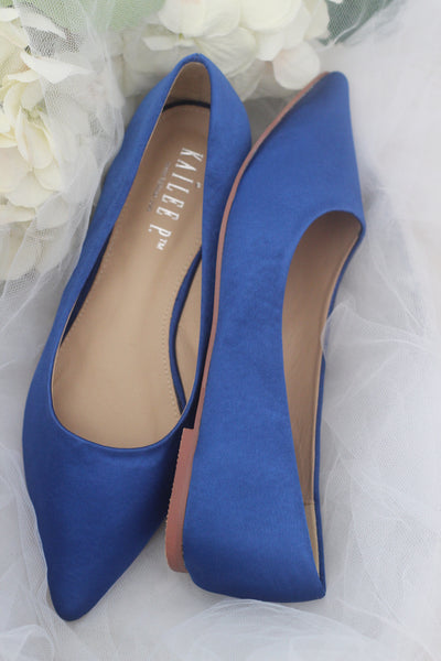ROYAL BLUE Satin Pointy Toe Flats