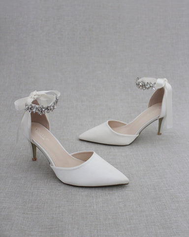 IVORY Satin Pointy Toe HEELS with FLORAL RHINESTONES Ankle Strap