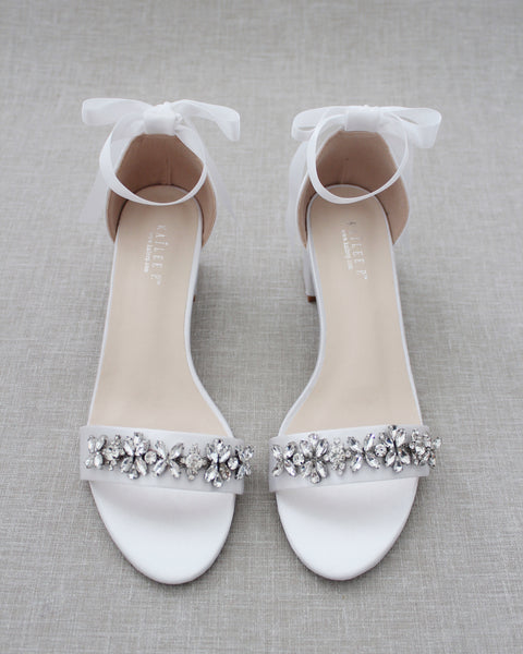 White Satin Block Heel Sandals with FLORAL RHINESTONES on Upper Strap