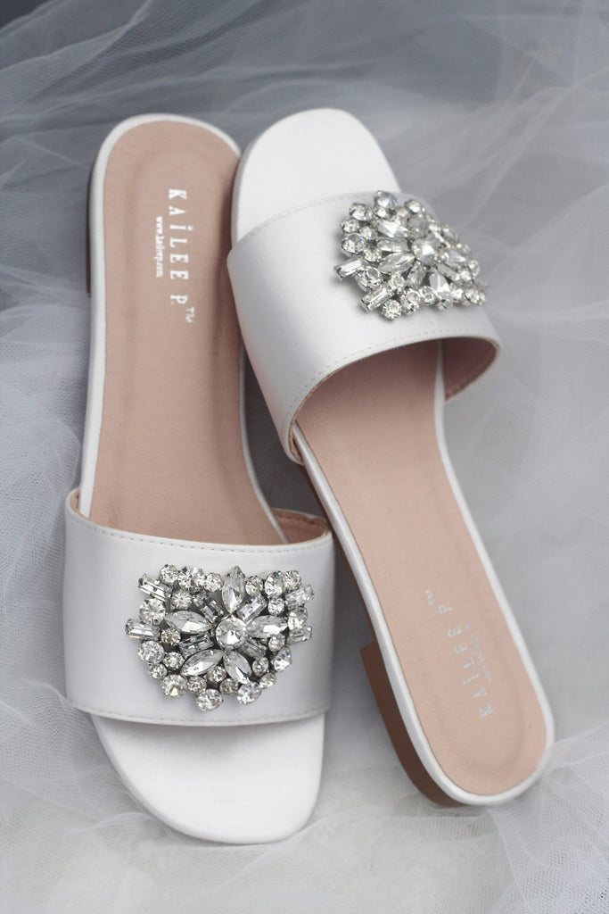 Women WHITE SATIN Slip on Sandals with Oversized Rhinestone Brooch
