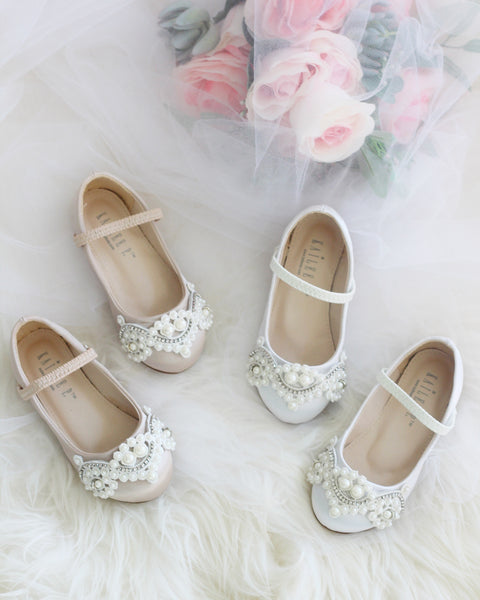 CHAMPAGNE Satin Maryjane Flats with Oversized Lace And Pearls Applique ,Kids Shoes- Kailee P