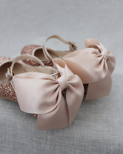 ROSE GOLD Rock Glitter Mary Jane Heels With Satin Bow