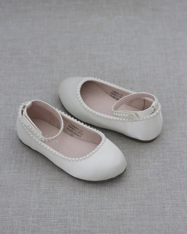 Ivory Satin Flats with MINI PEARLS
