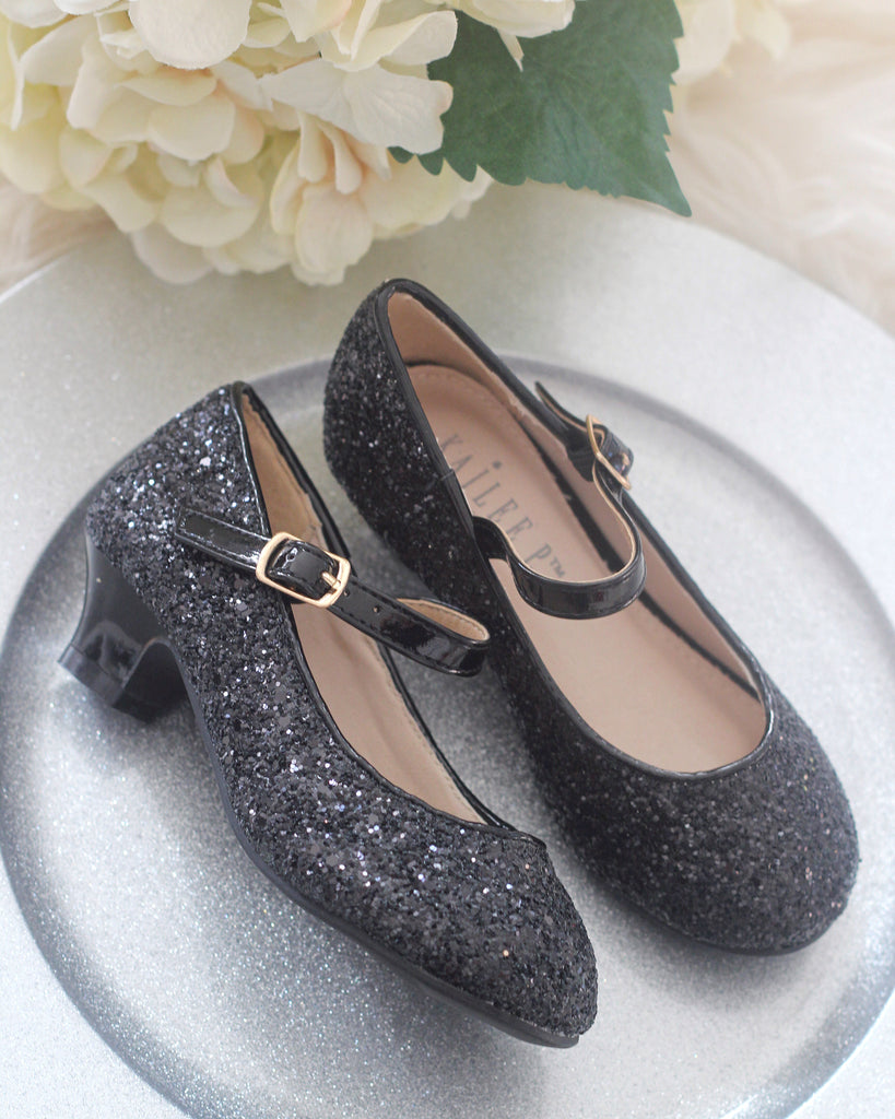Black glitter Mary Jane heels shoes for kids