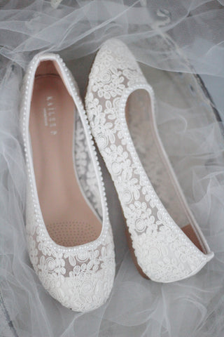 White Crochet Lace Round Toe Flats with Mini Pearls