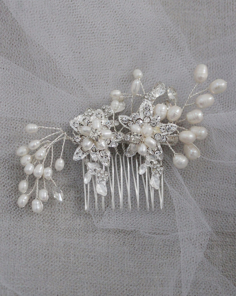 Flower Rhinestones with Pearls Mini Hair Comb