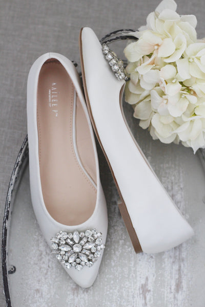 IVORY Satin Pointy Toe Satin Flats with Oversized BROOCH