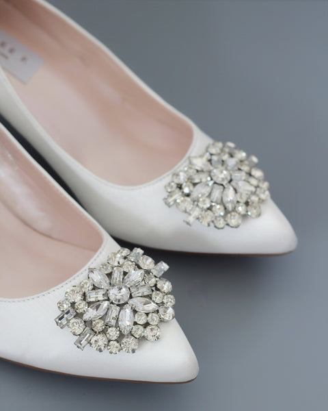 brooch white wedding shoes