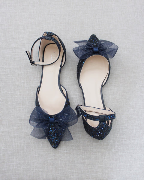 Navy Rock Glitter Pointy Toe Flats with Ankle Strap & ORGANZA BOW