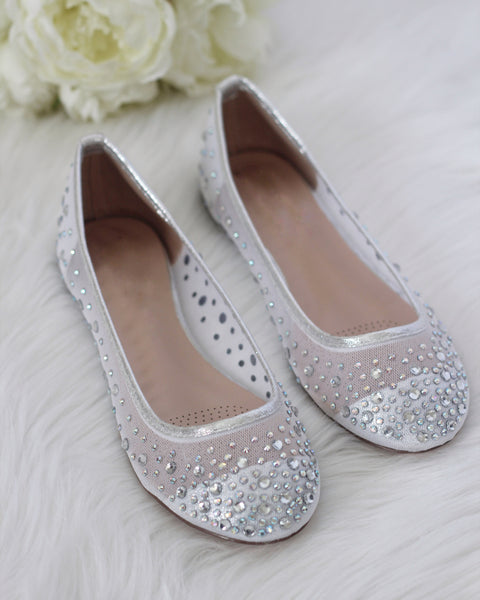 Harper - SILVER Embellished Mesh Flats ,Women Shoes- Kailee P
