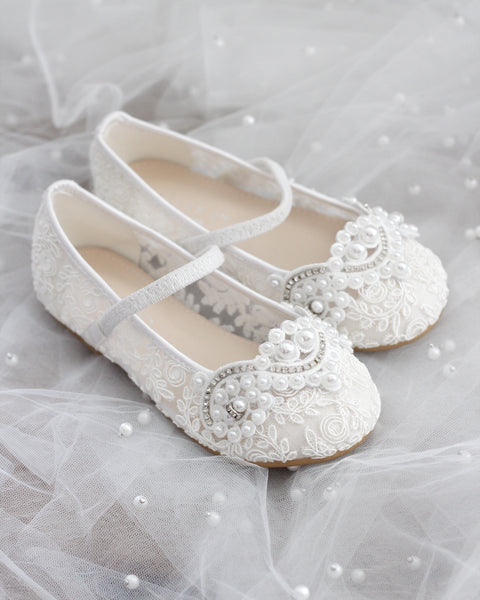 WHITE Crochet Lace Mary Jane Flats with Pearls Applique