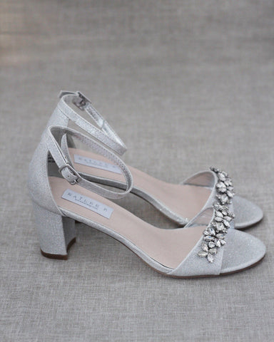 SILVER Shimmer Low Block Heel Sandals with Embellished Rhinestones