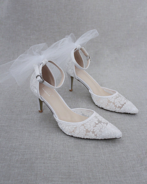 WHITE Crochet Lace Pointy Toe HEELS with TULLE BACK BOW