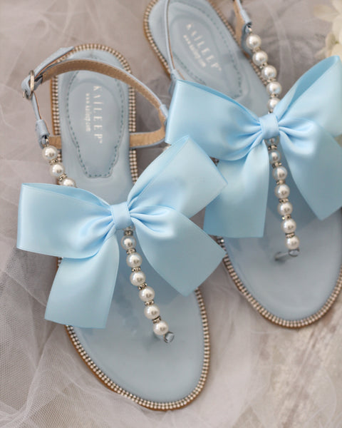 LIGHT BLUE/ SILVER T-Strap Pearl Flat Sandals with Oversized Satin Bow